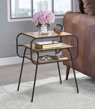Acme 83870 Ivy bronx lattimer kaseko oak finish top black finish frame end table