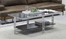 Acme 83925 Orren ellis latonia liddell chrome finish frame glass legs coffee table