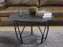 Acme 83950 Ebern designs ebru sytira espresso top black finish frame round coffee table