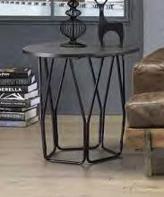 Acme 83952 Ebern designs ebru sytira espresso top black finish frame round end table