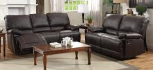 Homelegance 8403-2PC 2 pc Cassville dark brown faux leather sofa and love seat set recliner ends