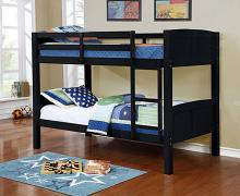 Asia Direct 8431-BLK Marylynn black finish wood twin / twin bunk bed set