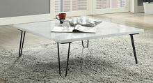 Acme 84500 Brayden studio canyonville telestis white marble black finish frame square coffee table