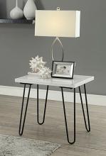 Acme 84502 Telestis white marble black finish frame chair side end table