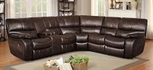 Homelegance HE-8480BRW-3SC 3 pc pecos brown leather gel match sectional sofa with recliner ends