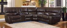 Homelegance 8480BRW-3SCPD 3 pc pecos brown leather gel match sectional sofa power motion recliner ends