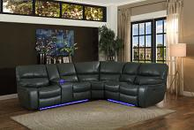 Home Elegance HE-8480GRY-3SCPD 3 pc pecos grey leather gel match sectional sofa power motion recliner ends