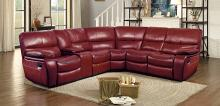 Homelegance HE-8480RED-3SC 3 pc pecos red leather gel match sectional sofa with recliner ends
