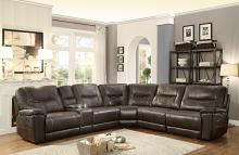 Homelegance 8490-6LRRR 6 pc Columbus dark brown leather gel match sectional sofa with recliners