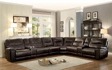 Homelegance 8490-8LRRR  8 pc Columbus dark brown leather gel match sectional sofa with recliners and consoles