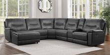 Homelegance 8490GRY-6LCRR 6 pc Columbus gray leather gel match sectional sofa with chaise and recliners