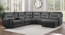 Homelegance 8490GRY-6LRRC 6 pc Columbus gray leather gel match sectional sofa with chaise and recliners