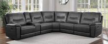Homelegance 8490GRY-6LRRR 6 pc Columbus gray leather gel match sectional sofa with recliners