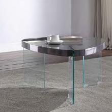 Acme 84915 Everly quinn cullompt noland gray high gloss finish top clear glass legs coffee table