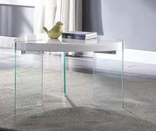 Acme 84920 Everly quinn cullompt noland white high gloss finish top clear glass legs coffee table