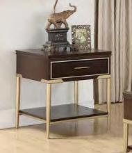 Acme 85962 Darby home co eschenbach cherry finish wood gold metal frame end table
