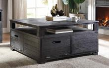 Acme 85965 Millwood pines bohanan kamilia antique black finish wood coffee table with doors