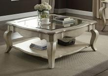 Acme 86050 Rosdorf park abrielle chelmsford antique taupe finish wood glass insert coffee table