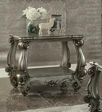 Acme 86822 Astoria grand timothy versailles antique platinum finish wood chair side end table