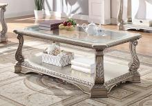 Acme 86930 Rosodrf park forsyth northville antique silver finish wood glass top coffee table