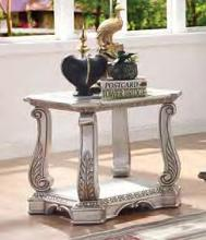 Acme 86932 Rosodrf park forsyth northville antique silver finish wood glass top end table