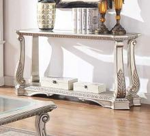 Acme 86933 Rosodrf park forsyth northville antique silver finish wood glass top sofa entry hall console table