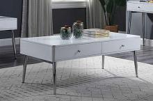 Acme 87150 Orren ellis silikou weizoi mid century modern white high gloss finish coffee table