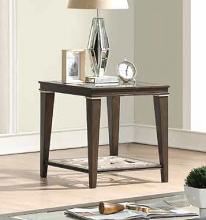 Acme 87992 One allium way candice peregrine walnut finish wood clear glass top end table