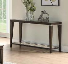 Acme 87994 One allium way candice peregrine walnut finish wood clear glass top sofa entry hall console table