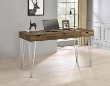 881621 Foundry select Samson brown oak finish wood and chrome finish metal legs office writing desk