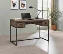 882091 Ivy bronx hoopes millbrook rustic oak herringbone finish wood gunmetal frame writing desk