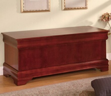 Cherry finish wood louis phillipe style cedar lined storage hope chest