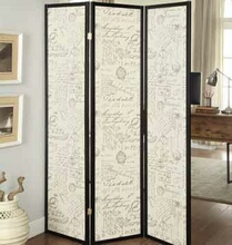 900074 3 panel espresso finish wood french script design center room divider shoji screen