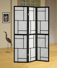 Black wood frame geometric squares pattern 3 panel room divider screen