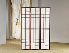 3 panel mahogany finish wood room divider shoji screen with geometric pattern