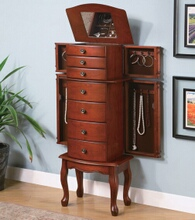 Double side door jewelry armoire in a Warm brown finish wood