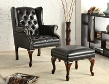 900262 Black bycast leather like vinyl wing back tufted chair and ottoman
