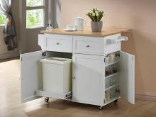 900558 Chefs helper white natural finish wood top large kitchen storage island