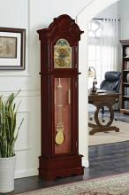 900749 Cherry finish wood grandfather clock with decorative crown top and column look sides