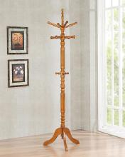 900759 Byngham tobacco brown finish wood coat rack with multiple spindle hooks