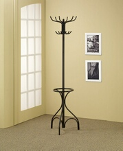 Black metal finish coat rack with round umbrella holder ring on the bottom