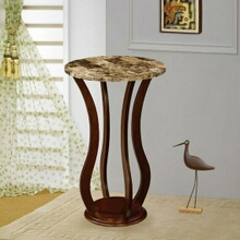 Cherry finish wood plant stand with faux marble round top