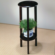 Espresso finish wood round plant stand