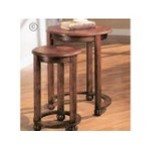 Set of 2 warm dark cherry finish wood nesting table set with burl inlayed top