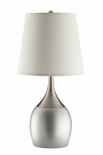 901471 Set of 2 contemporary style silver and chrome finsh base table lamp with long fabric shade