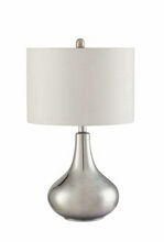 Chrome metallic finish modern style base table lamp with organic round shade