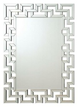 Interlocking squares border rectangular frameless decorative wall mirror