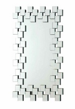 Multi squares outer edge framed rectangular design frameless decorative wall mirror