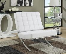 902183 Orren ellis loizzo white faux leather chrome legs mid century modern accent chair