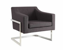 Grey linen like fabric upholstered and chrome metal finish frame retro style squared back chair